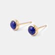 Sold gold stud earrings with lapis lazuli gemstones handmade by Australian jeweller Simone Walsh.