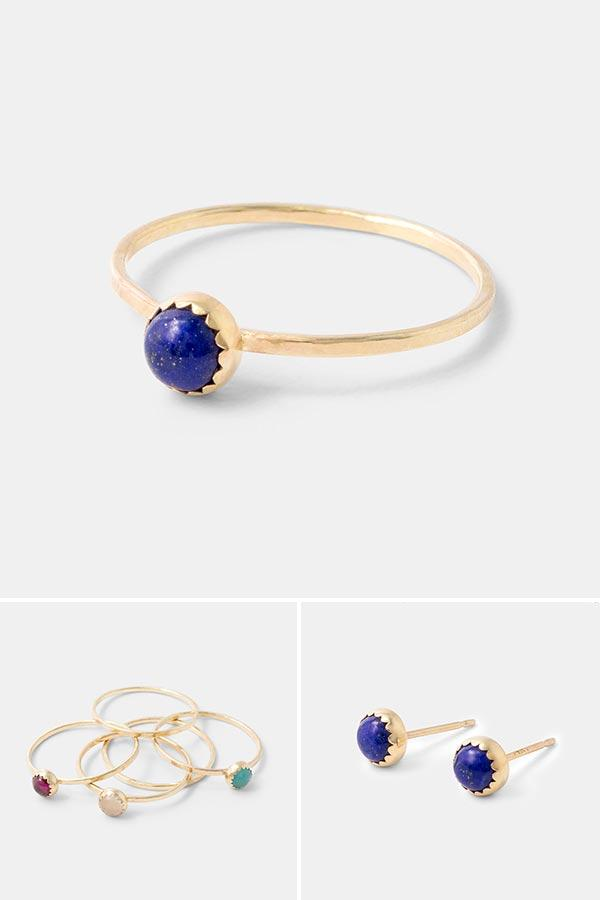 Handmade gold jewellery: lapis lazuli and gold stacking ring. Handmade in 14k solid gold. Wear it on its own or mix and match with other stackable rings in sterling silver and gold. Beautiful handmade jewellery by Australian jewellery designer Simone Walsh.