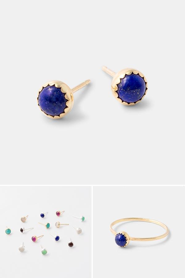 Solid gold handmade jewellery with lapis lazuli gemstones: beautiful handmade lapis lazuli and gold stud earrings in 14k solid gold. Add a pop of blue and gold to your day. Quality handmade jewellery by Australian jewellery designer Simone Walsh.