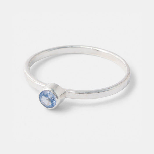 Handmade sterling silver stacking ring with an aquamarine gemstone in our Australian jewellery online store.