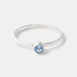 Sterling silver stackable ring with an aquamarine gemstone handmade by jewellery designer Simone Walsh.