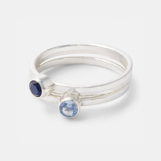 Sapphire, aquamarine and sterling silver stacking rings set handmade by Australian jeweller Simone Walsh.