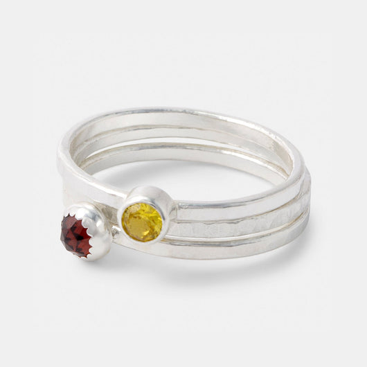 Gemstone and sterling silver stacking rings set: garnet and golden topaz. Handmade by Australian jeweller Simone Walsh.