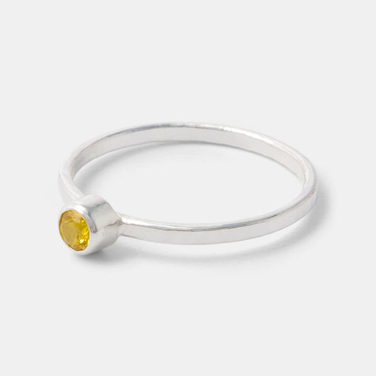 Golden topaz and sterling silver stacking ring handmade by Australian jewellery designer Simone Walsh.