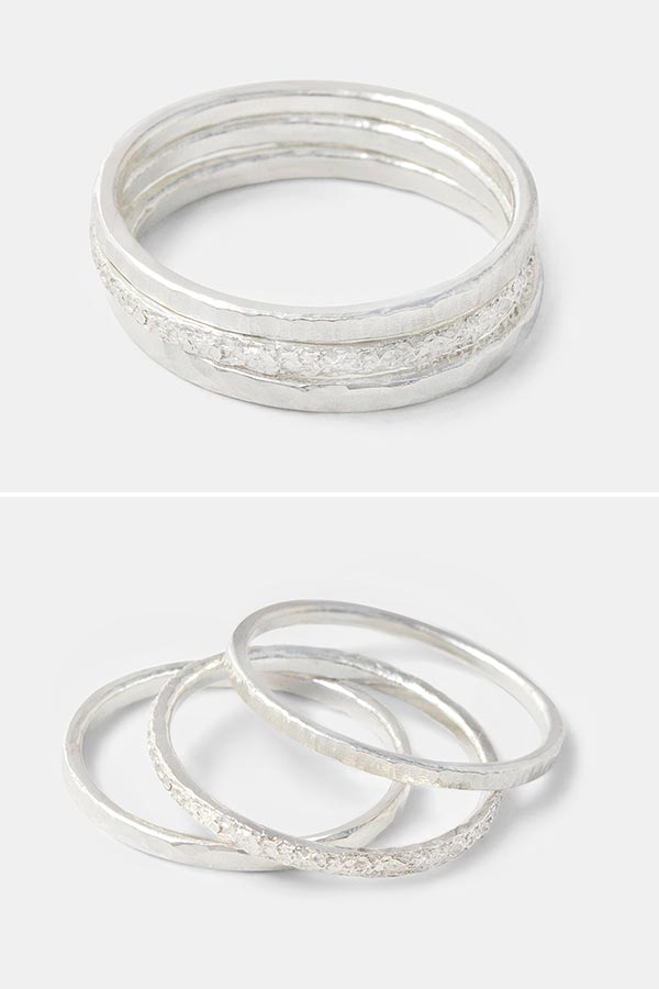 Simple handmade silver rings: set of stacking rings handmade in sterling silver. Handmade jewelry store online.