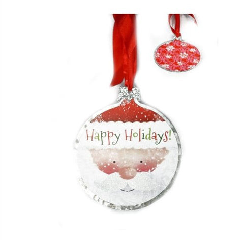 "JWM Collection Happy Holidays Santa Ornament, Metal, 6"", Red White and Green - Blazin' Buddy"