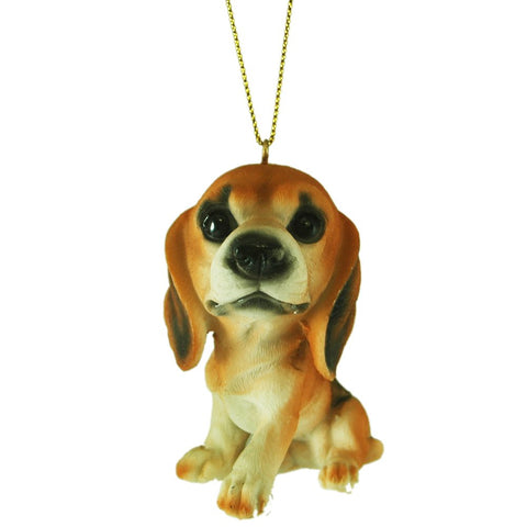 Hand Painted Big Head Begal Puppy Hanging Tree Ornament - Blazin' Buddy