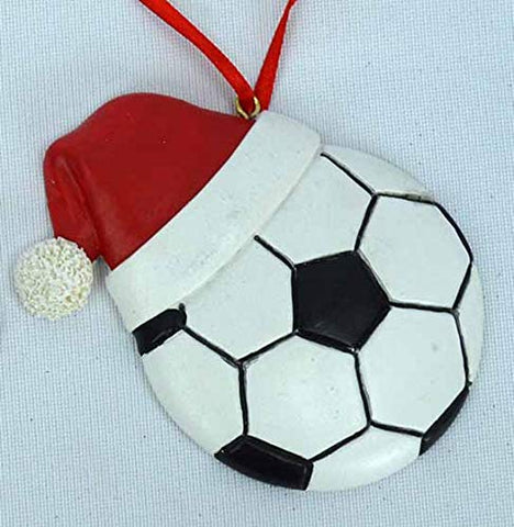 "JWM Collection Soccer Ball with Santa Hat Christmas Ornament - 4 1/4"" - Blazin' Buddy"