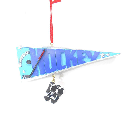 JWM Collection Hockey Pennant with Ice Skates Christmas Ornament - Blazin' Buddy