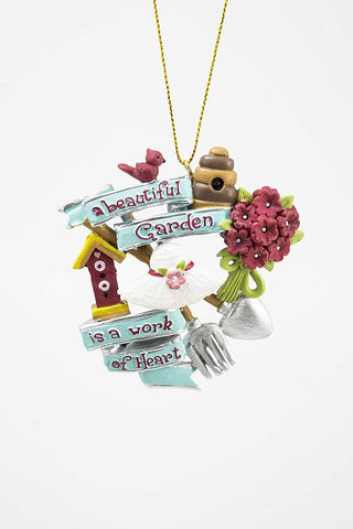 "JWM Collection Beautiful Garden with Cardinal, Birdhouse and Tools Christmas Ornament 3 1/4"" - Blazin' Buddy"