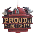 Proud to be a Fire Fighter 3 inch Resin Stone Christmas Ornament Decoration - Blazin' Buddy