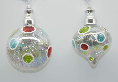 JWM Collection Retro Glass Ball with Tinsel Ornaments - Set of 2 - Blazin' Buddy