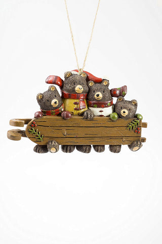 Bear Family with Sled Ornament - Blazin' Buddy