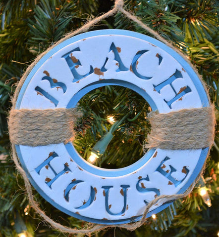 JWM Collection Beach House Life Buoy Christmas Ornament - Blazin' Buddy