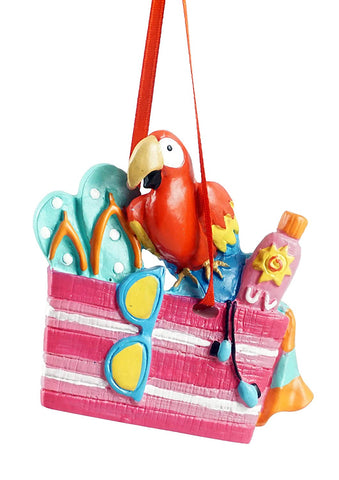 JWM Beach Bag with Parrot Hanging Christmas Ornament - Blazin' Buddy