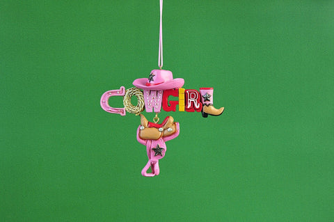 "JWM Collection 3.5"" Pink Cowgirl Christmas Ornament - Blazin' Buddy"