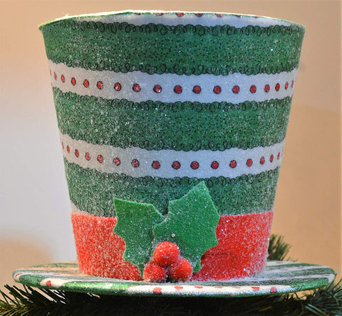 "JWM Collection 9"" Green White and Red Polka Dots Snowman Hat Tree Topper - Blazin' Buddy"