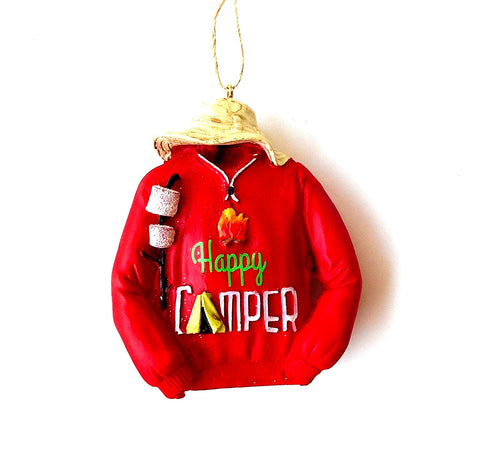 JWM Collection Happy Camper Jacket Sweatshirt Christmas Ornament - Blazin' Buddy