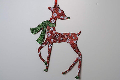 JWM Collection Reindeer Snowflakes Glitter Christmas Ornament - Set of 3 - Blazin' Buddy