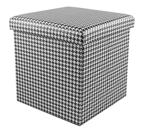 Houndstooth Pattern Collapsible Storage Ottoman - Blazin' Buddy