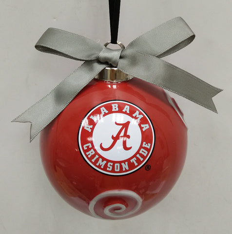 Alabama Crimson Tide Ceramic Ball Ornament - Blazin' Buddy