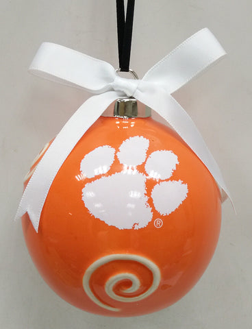 Clemson Tigers Ceramic Ball Ornament