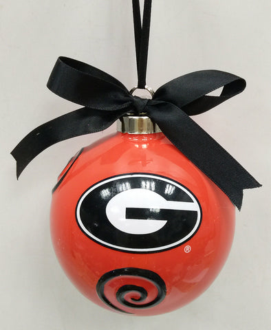 Georgia Bulldogs Ceramic Ball Ornament - Blazin' Buddy