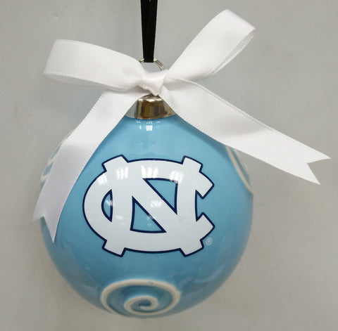 North Carolina Tar Heels Ceramic Ball Ornament - Blazin' Buddy