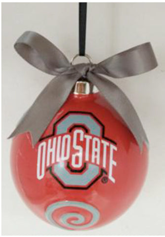 Ohio State Buckeye Ceramic Ball Ornament - Blazin' Buddy