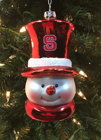 North Carolina State Wolfpack Glass Snowman Ornament - Blazin' Buddy