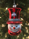 Ohio State Buckeye Glass Snowman Ornament