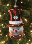 Mississippi State Bulldogs Glass Snowman Ornament - Blazin' Buddy