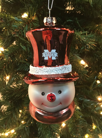 Mississippi State Bulldogs Glass Snowman Ornament
