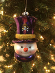 East Carolina Pirates Glass Snowman Ornament