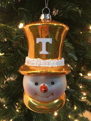 Tennessee Volunteers Glass Snowman Ornament - Blazin' Buddy