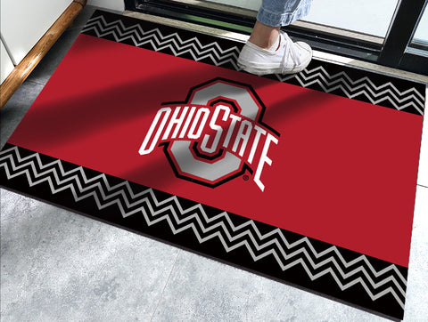 Ohio State Buckeyes Chevron Door Mat - Blazin' Buddy
