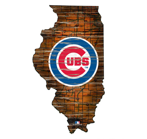 Chicago Cubs State Map Wall Decor - Blazin' Buddy