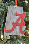 Alabama Crimson Tide Wood Map Ornament