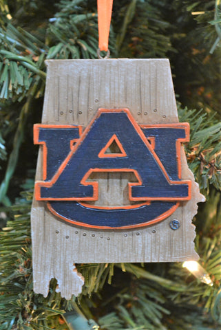 Auburn Tigers Wood Map Ornament