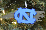 North Carolina Tar Heels Wood Map Ornament