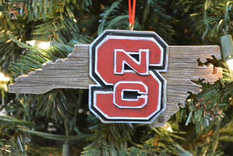 North Carolina State Wolfpack Wood Map Ornament