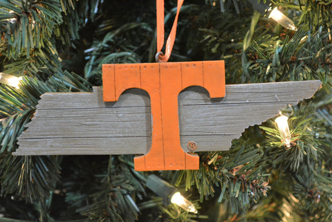 Tennessee Volunteers Wood Map Ornament - Blazin' Buddy