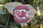 South Carolina Gamecocks Wood Map Ornament
