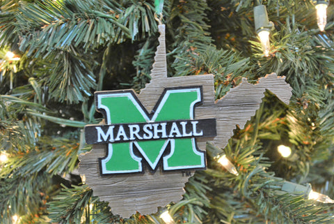 Marshall Thundering Herd Wood Map Ornament - Blazin' Buddy