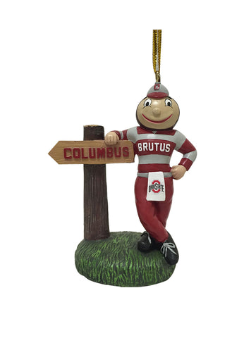 Ohio State Buckeye Mascot With Sign - Blazin' Buddy