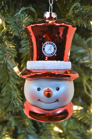 South Carolina Gamecocks Glass Snowman Ornament
