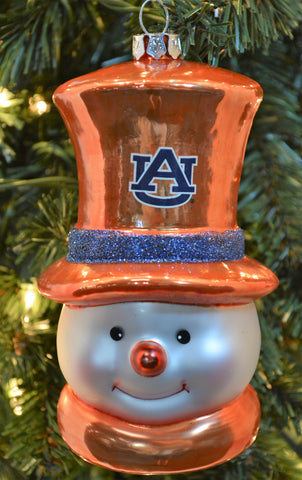 Auburn Tigers Glass Snowman Ornament