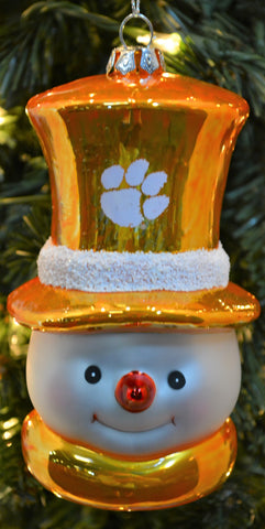 Clemson Tigers Glass Snowman Ornament