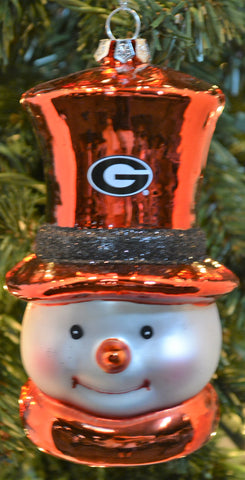Georgia Bulldogs Glass Snowman Ornament - Blazin' Buddy