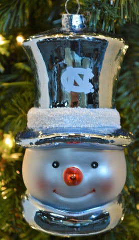 North Carolina Tar Heels Glass Snowman Ornament